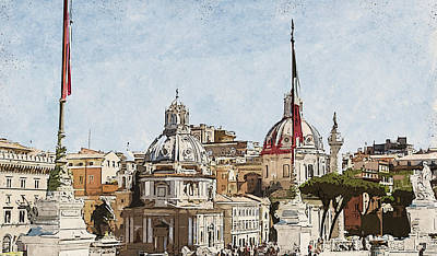 Painting - Rome Cityscape - 01 by Andrea Mazzocchetti