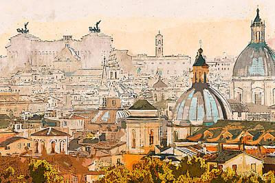 Painting - Rome Cityscape - 04 by Andrea Mazzocchetti