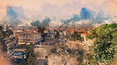 Painting - Rome, Cityscape From Belvedere Del Pincio - 01 by Andrea Mazzocchetti