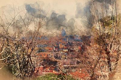 Painting - Rome, Cityscape From Belvedere Del Pincio - 02 by Andrea Mazzocchetti
