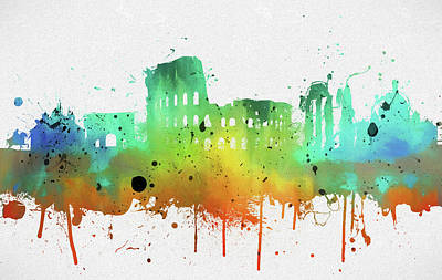 Painting - Rome Colorful Abstract Skyline by Dan Sproul