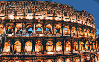 Painting - Rome, Colosseum At Night - 02 by Andrea Mazzocchetti