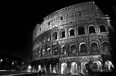 Photograph - Rome - Colosseum By Night - Bw by Carlos Alkmin