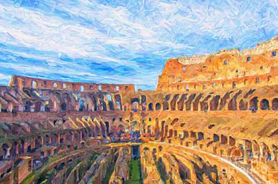 Archeology Painting - Rome Colosseum Digital Painting by Antony McAulay