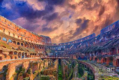 Archeology Painting - Rome Colosseum Interior Digital Painting by Antony McAulay
