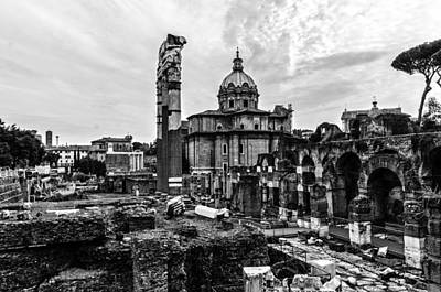 Monochrome Photograph - Rome - Details From The Imperial Forums 2 by Andrea Mazzocchetti