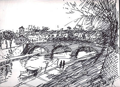 Bridge At Isola Tiberina Rome Sketch Art Print by Ylli Haruni