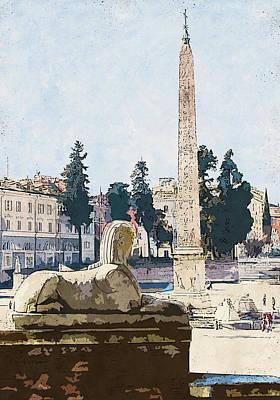 Painting - Rome, Flaminio Obelisk - 02 by Andrea Mazzocchetti