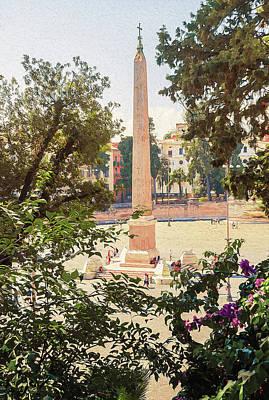 Painting - Rome, Flaminio Obelisk by Andrea Mazzocchetti