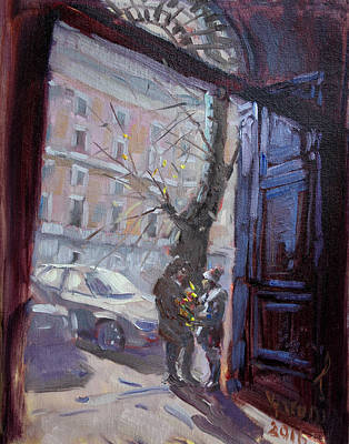 Street Car Painting - Rome, Flowers For My Valentine by Ylli Haruni