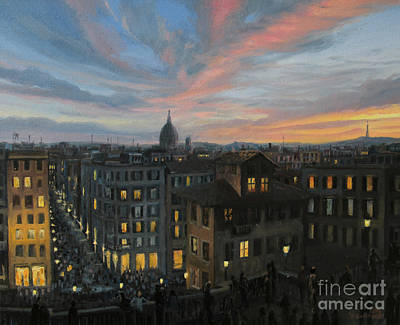 Italian Evening Painting - Rome In The Light Of Sunset by Kiril Stanchev