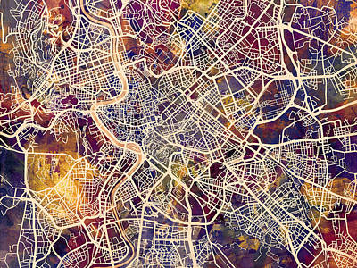 Rome Italy City Street Map Art Print