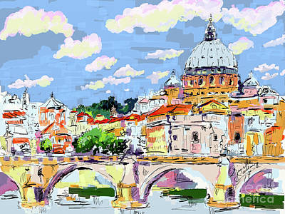 Digital Art - Rome Italy Ponte Sant Angelo And Basilica by Ginette Callaway