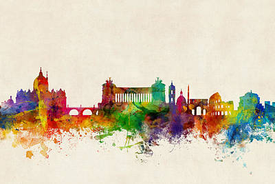Vatican Digital Art - Rome Italy Skyline by Michael Tompsett