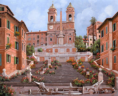 Fountain Painting - Rome-piazza Di Spagna by Guido Borelli