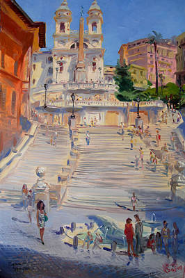 Rome Wall Art - Painting - Rome Piazza Di Spagna by Ylli Haruni