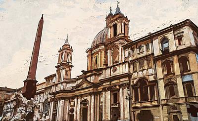 Painting - Rome, Piazza Navona - 01 by Andrea Mazzocchetti