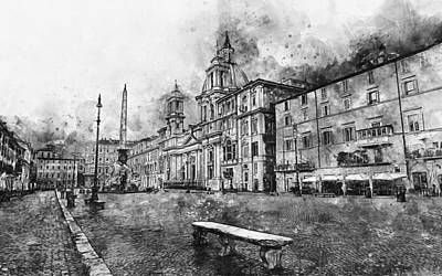 Painting - Rome, Piazza Navona - 04 by Andrea Mazzocchetti