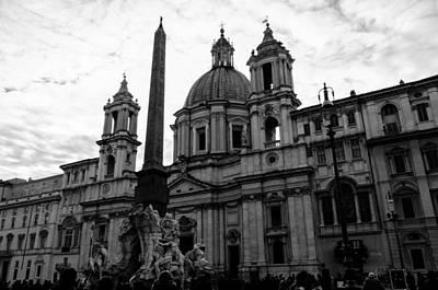 Italian Landscape Photograph - Rome - Piazza Navona Bnw by Andrea Mazzocchetti