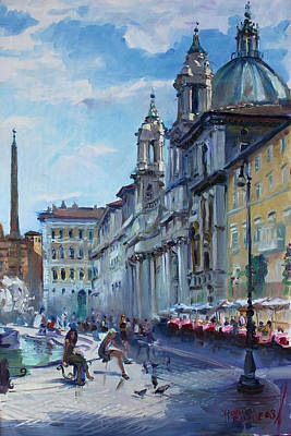 City Scape Painting - Rome Piazza Navona by Ylli Haruni