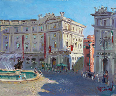 Fountain Wall Art - Painting - Rome Piazza Republica by Ylli Haruni