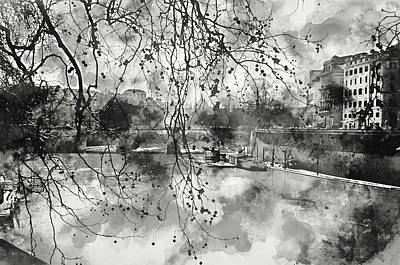 Painting - Rome, River Tevere - Watercolor 01 by Andrea Mazzocchetti
