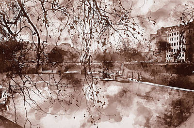 Painting - Rome, River Tevere - Watercolor 02 by Andrea Mazzocchetti