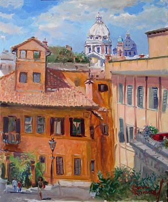 Rome Cityscape Painting - Rome Seen From Piazza Di Spagna by Ylli Haruni