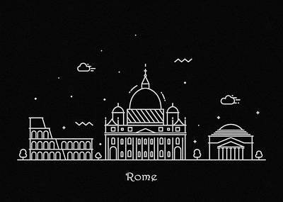 Drawing - Rome Skyline Travel Poster by Inspirowl Design