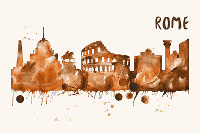 Painting - Rome Skyline Watercolor Poster - Cityscape Painting Artwork by Beautify My Walls