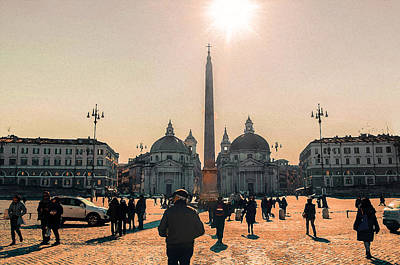 Painting - Rome, Sunny Day In Piazza Del Popolo by Andrea Mazzocchetti