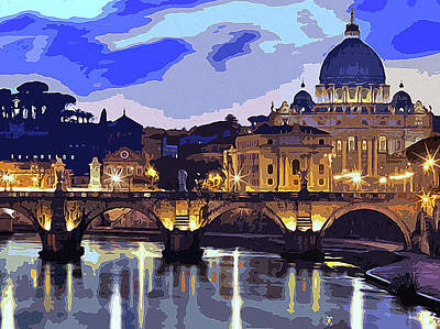 Painting - Rome, Sunset Over The St Peter's Basilica by Andrea Mazzocchetti