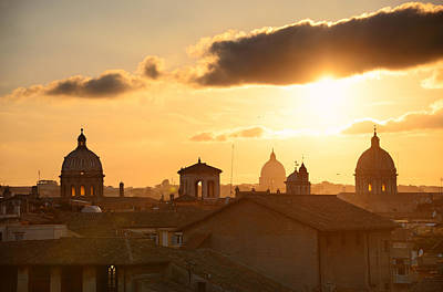 Photograph - Rome Sunset Rooftop View by Songquan Deng