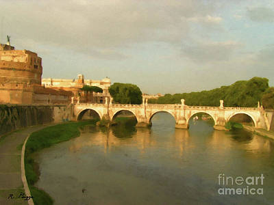 Painting - Rome The Eternal City And Tiber River by Rosario Piazza