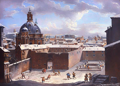 Snowball Fight Painting - Rome Under The Snow by Mountain Dreams