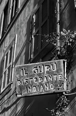 Photograph - Rome Urban Street Scene With Indian Restaurant Sign Black And White by Shawn O'Brien