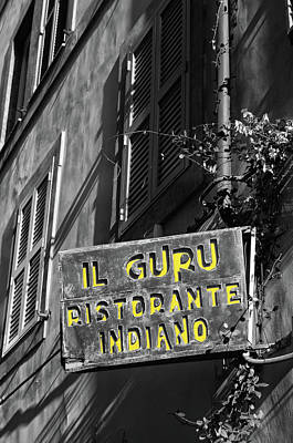 Digital Art - Rome Urban Street Scene With Indian Restaurant Sign Color Splash Black And White by Shawn O'Brien