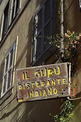 Photograph - Rome Urban Street Scene With Indian Restaurant Sign by Shawn O'Brien