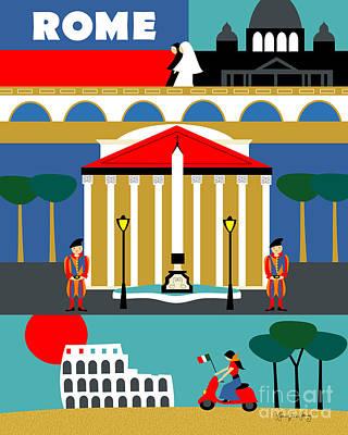 Rome Vertical Scene - Collage Art Print