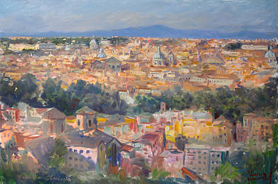 Rome Wall Art - Painting - Rome View From Gianicolo by Ylli Haruni