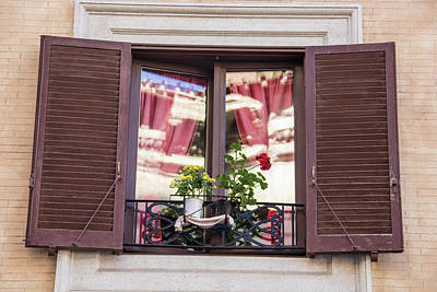 Photograph - Rome Window And Shutters by John McGraw