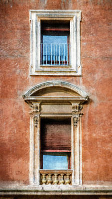 Rome Windows And Balcony Textured Art Print by Joan Carroll