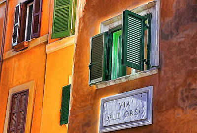 Digital Art - Rome Windows by Dennis Cox WorldViews