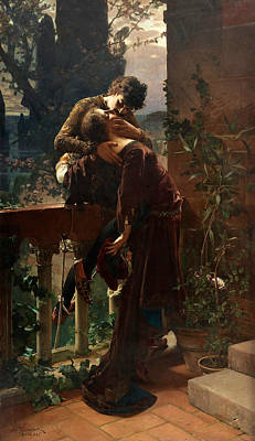 Kiss Painting - Romeo And Juliet On The Balcony by Julius Kronberg