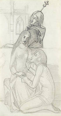 Valentines Day Drawing - Romeo And Juliet, With Friar Lawrence by Simeon Solomon