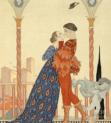 Lovers Art Drawing - Romeo And Juliette by Georges Barbier