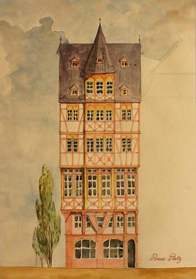 Frankfurt Painting - Romer Platz Frankfurt by Juan  Bosco