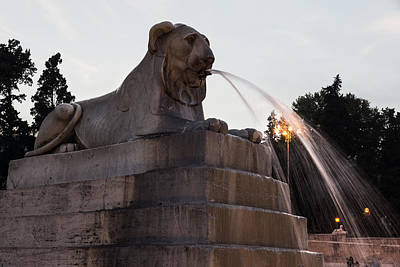 The Bunsen Burner - Romes Fabulous Fountains - Piazza del Popolo Egyptian Lion by Georgia Mizuleva