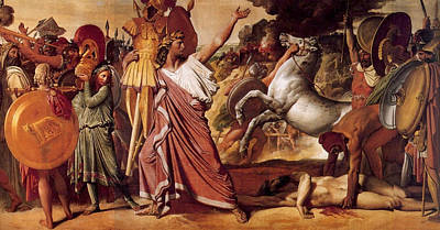 Horseback Painting - Romulus, Victory Over Acron by Jean-Auguste-Dominique Ingres