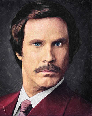Burgundy Painting - Ron Burgundy by Taylan Apukovska